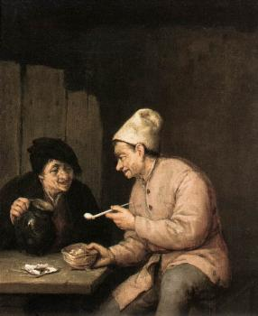 Adriaen Jansz Van Ostade : Piping and Drinking in the Tavern